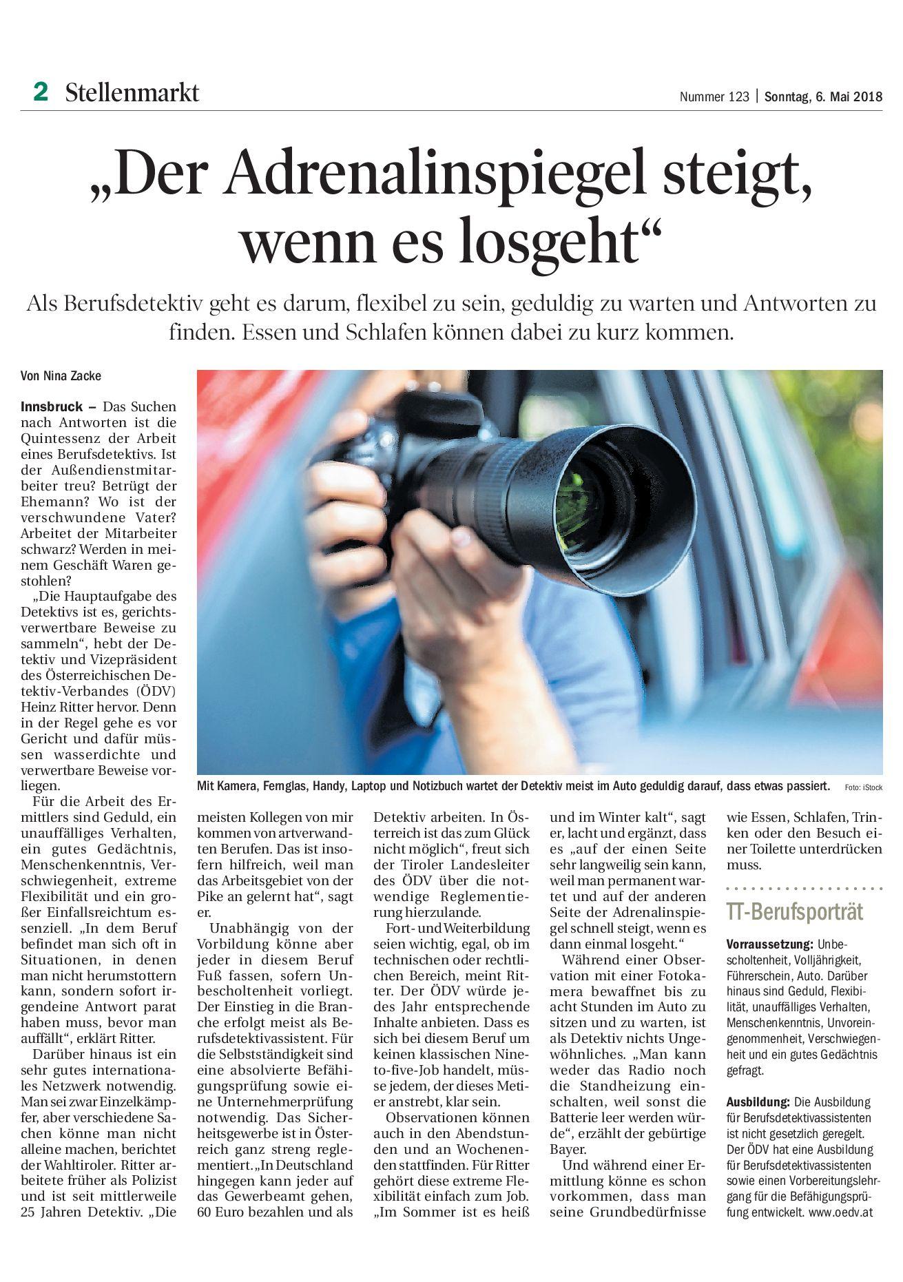 Detektei Kobra in der Tiroler Tageszeitung